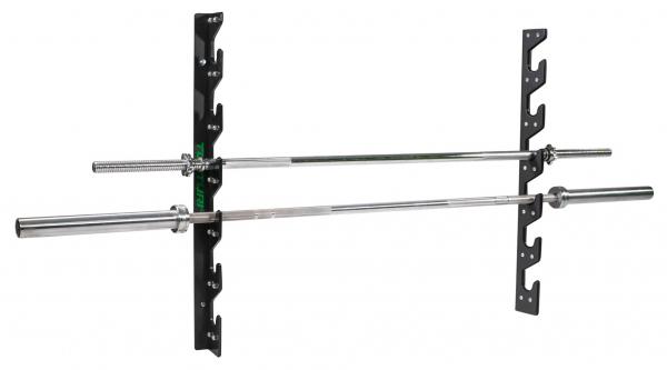 Nástěnný držák na činky TUNTURI Wall Barbell Storage z profilu + osy