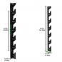 Nástěnný držák na činky TUNTURI Wall Barbell Storage rozměry